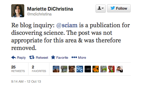 SciAm's tweets why DNLee's post was taken down